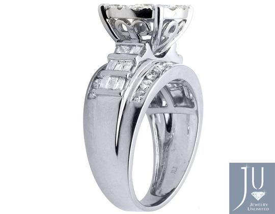 Jewelry Unlimited 10K White Gold Flower Round and Baguette Diamond Ring 2.0ct. Image 2