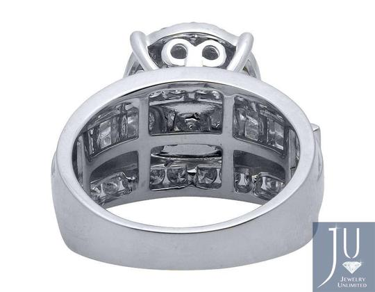 Jewelry Unlimited 10K White Gold Flower Round and Baguette Diamond Ring 2.0ct. Image 3