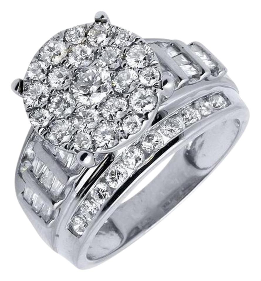 10k White Gold Flower Round And Baguette Diamond 20ct Ring Tradesy
