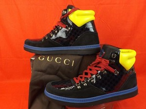 Gucci Black /Blue/Yellow/Red Mens Neon Suede Guccissima Hi Top Sneakers 9.5 10.5 #392167 Shoes