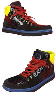 Gucci Black /Blue/Yellow/Red Mens Neon Suede Guccissima Hi Top Sneakers 11.5 12.5 #392167 Shoes