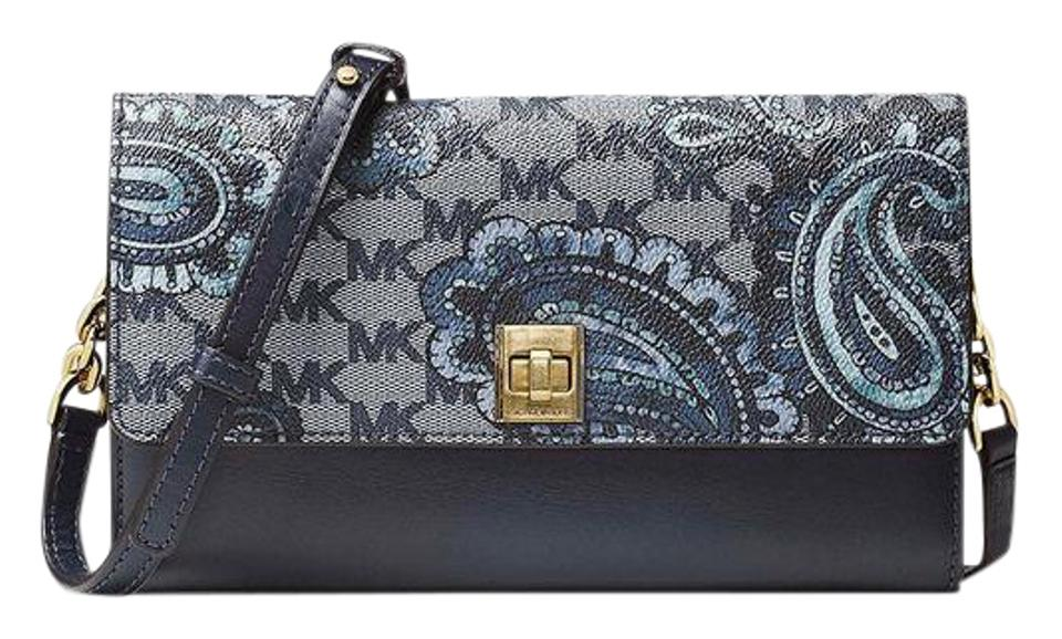f2ed331f7390 Michael Kors Reduced Mother Gift Natalie Extra-large Heritage Paisley Wallet  Navy Blue Leather Cross Body Bag