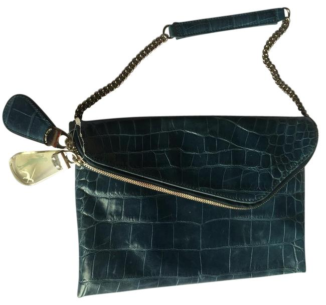 Item - Shoulder Clutch Envelope with Silver Chain/Clutch. New Without Tag. Blue Leather Beach Bag