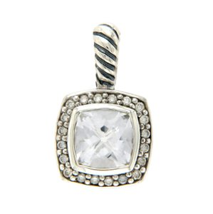 David Yurman DAVID YURMAN Sterling Silver 7 mm White Topaz Diamonds Albion Pendant