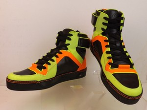 Gucci Black/Yellow/Green/Orange Mens Multicolor Leather Interlocking Hi Top Sneakers 10.5 11.5 #386738 Shoes