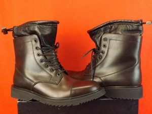 Prada Black Mahagany Mens Uomo 2 Tone Leather Cap Toe Lace Up Combat Boots 8 Us 9 Shoes