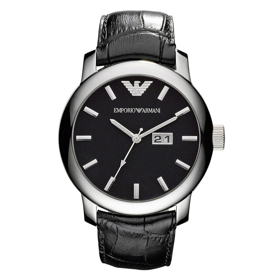 5f72a817 Emporio Armani Black Stainless Steel Leather Strap Men's Ar0428 Watch 40%  off retail