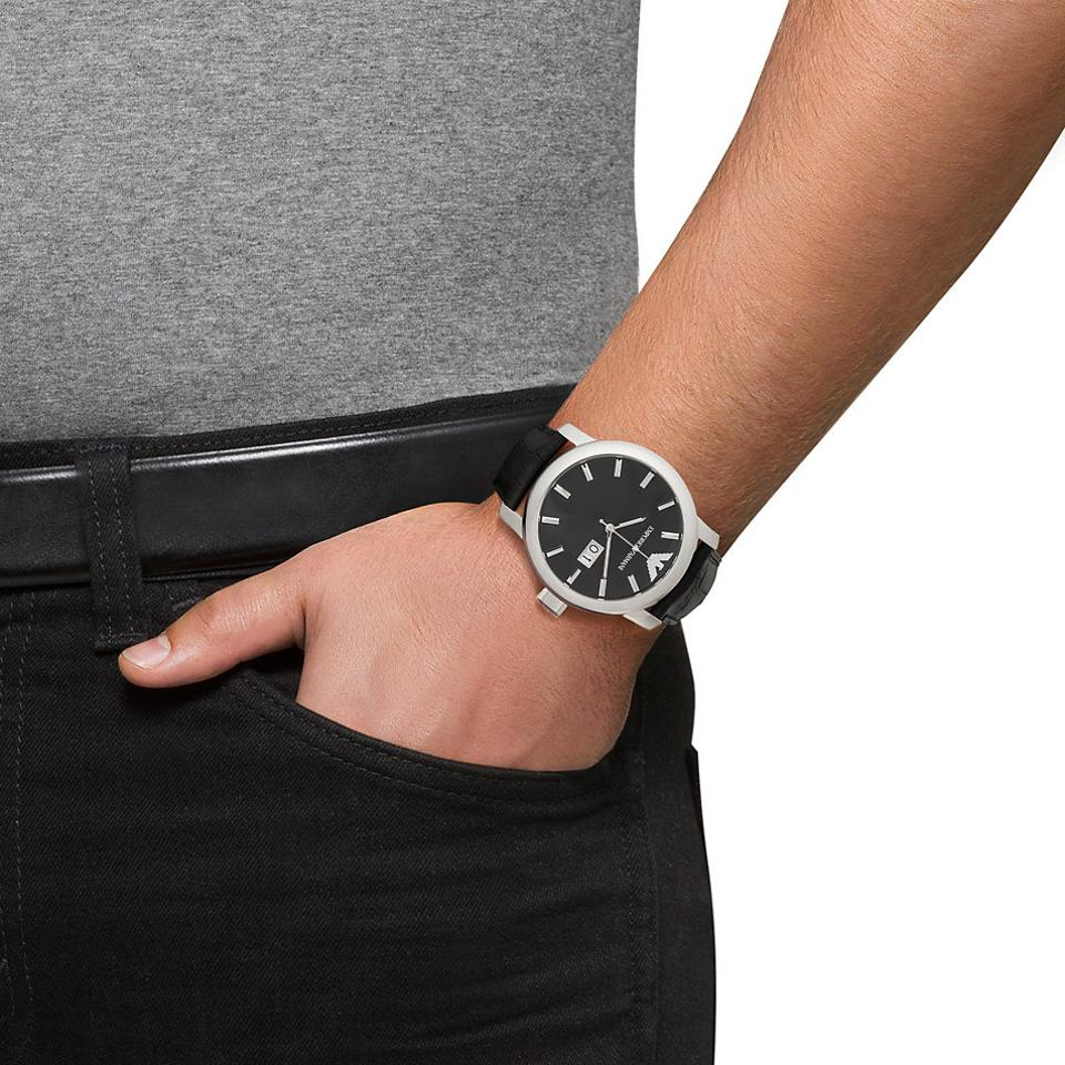 cce23633755 Emporio Armani EMPORIO ARMANI Stainless Steel Black Leather Strap Men s  Watch AR0428 Image 4. 12345