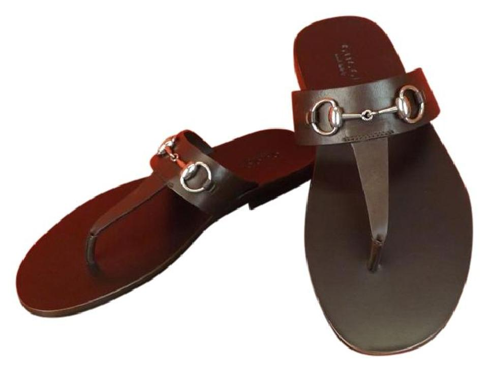bd0b6a12e Gucci Cocoa Horsebit Men s Leather Silver Thong Sandals Flats 7.5 8.5  337062 Shoes