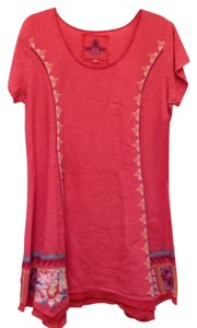 Johnny Was short dress coral Linen Embroidered Scoop Neck Short Sleeve Asymmetrical Hem on Tradesy