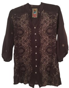 Johnny Was Embroidered Silk Boho Sheer Button Down Shirt Eggplant