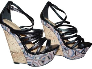 Liliana Wedge Heels Strappy Glamour Black, Blue, Pink Platforms