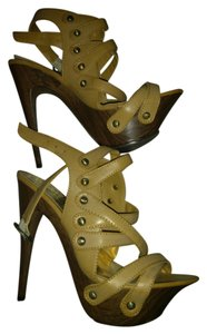 Baby Phat Heel Stilletto Heels Beige Platforms