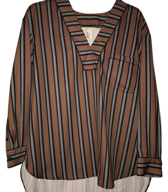 Preload https://img-static.tradesy.com/item/21286483/h-and-m-navy-white-copperbronze-stripped-blouse-size-4-s-0-1-650-650.jpg