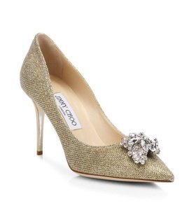 Jimmy Choo Mamey Glitter Crystal Stiletto Wedding gold Pumps