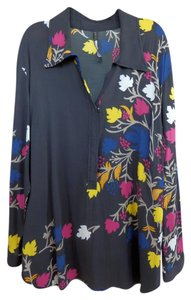 Plenty by Tracy Reese Roll-tab 3/4 Tunic Top Charcoal with floral print