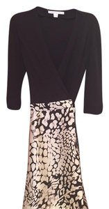 Diane von Furstenberg short dress black top , skirt with white and grey flowers on Tradesy