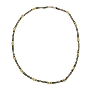 David Yurman David Yurman 925 Silver & 14k Gold Cable Pearl Necklace Size 15