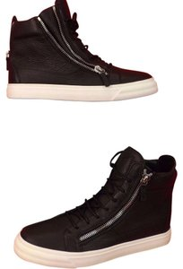 giuseppe zanotti mens london textur black leather 3x zip hi top sneakers 435 105