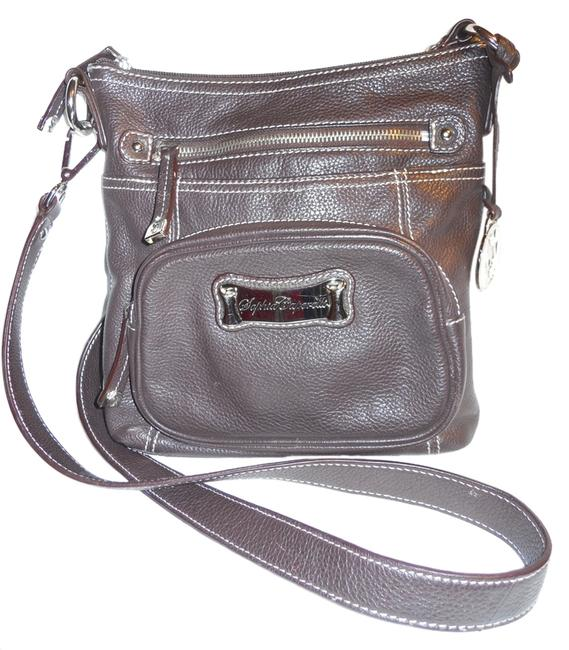 Sophia Caperelli Pebbled Brown Leather Cross Body Bag Sophia Caperelli Pebbled Brown Leather Cross Body Bag Image 1