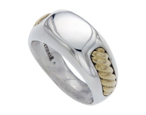 David Yurman David Yurman 925 Sterling Silver 18K Gold Men's Wedding ID Ring