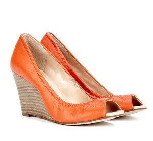 Julianne Hough for Sole Society Peep-toe Wedge Leather Tangerine / Orange Pumps