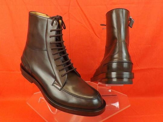 Gucci Cocoa Betis Leather Lace Zip Combat Boots 10.5 11.5 325856 Shoes Image 1