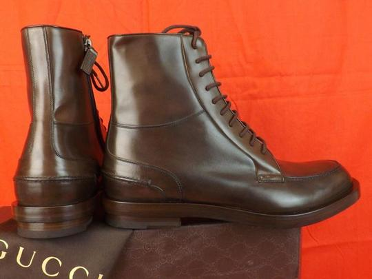 Gucci Cocoa Betis Leather Lace Zip Combat Boots 10.5 11.5 325856 Shoes Image 2