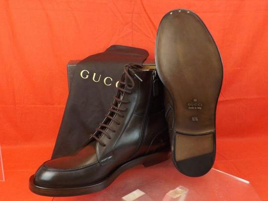 Gucci Cocoa Betis Leather Lace Zip Combat Boots 10.5 11.5 325856 Shoes Image 3