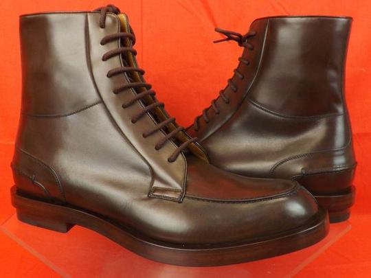 Gucci Cocoa Betis Leather Lace Zip Combat Boots 10.5 11.5 325856 Shoes Image 4