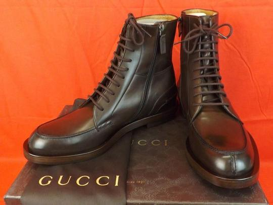 Gucci Cocoa Betis Leather Lace Zip Combat Boots 10.5 11.5 325856 Shoes Image 5