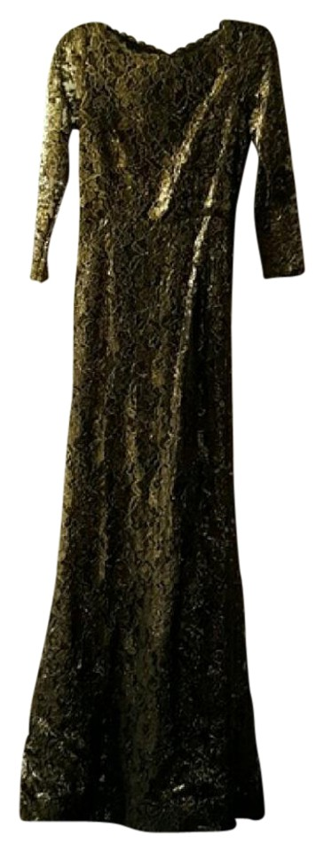 Alice Olivia Gold And Black Design By Long Casual Maxi Dress Size
