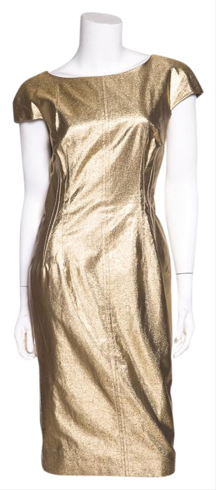 0baf4e97 Dolce&Gabbana Dolce & Gabbana Gold Metallic Cap-sleeve Cocktail Dress