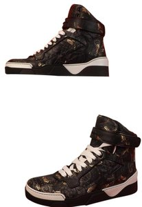 Givenchy Black Mens Tyson Leather Moth Paisley Hi Top Sneakers 45 12 Shoes