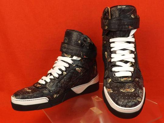 Givenchy Black/Multi-color Mens Tyson Leather Moth Paisley Hi Top Sneakers 45 12 Shoes