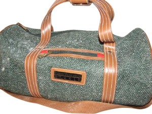 Oscar de la Renta Multi-purpose Mint Vintage Over-night From Studio Line Part Of 2 Piece Set green and white tweed fabric & brown leather with brown canvas straps Travel Bag