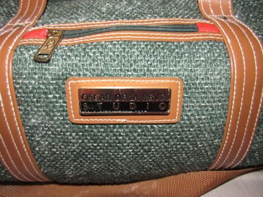 Oscar de la Renta Multi-purpose Mint Vintage Over-night From Studio Line Part Of 2 Piece Set green and white tweed fabric & brown leather with brown canvas straps Travel Bag Image 1
