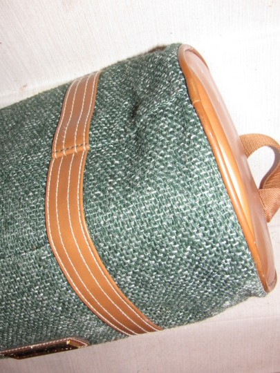 Oscar de la Renta Multi-purpose Mint Vintage Over-night From Studio Line Part Of 2 Piece Set green and white tweed fabric & brown leather with brown canvas straps Travel Bag Image 10