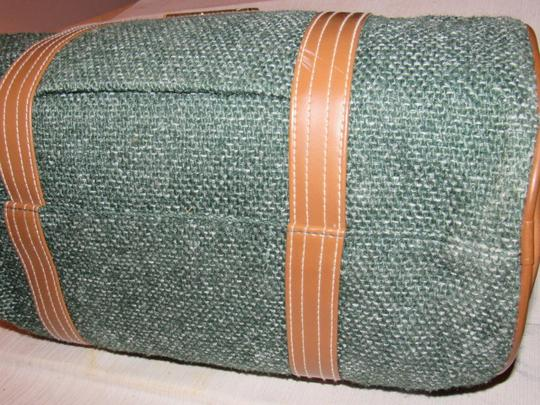 Oscar de la Renta Multi-purpose Mint Vintage Over-night From Studio Line Part Of 2 Piece Set green and white tweed fabric & brown leather with brown canvas straps Travel Bag Image 11