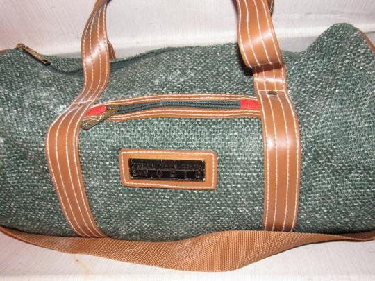 Oscar de la Renta Multi-purpose Mint Vintage Over-night From Studio Line Part Of 2 Piece Set green and white tweed fabric & brown leather with brown canvas straps Travel Bag Image 2