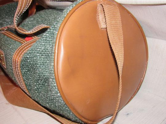 Oscar de la Renta Multi-purpose Mint Vintage Over-night From Studio Line Part Of 2 Piece Set green and white tweed fabric & brown leather with brown canvas straps Travel Bag Image 3