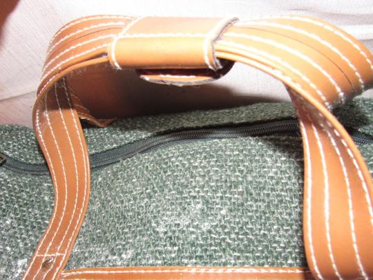 Oscar de la Renta Multi-purpose Mint Vintage Over-night From Studio Line Part Of 2 Piece Set green and white tweed fabric & brown leather with brown canvas straps Travel Bag Image 4