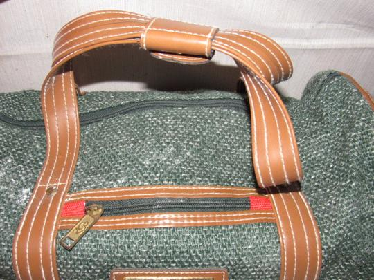 Oscar de la Renta Multi-purpose Mint Vintage Over-night From Studio Line Part Of 2 Piece Set green and white tweed fabric & brown leather with brown canvas straps Travel Bag Image 5