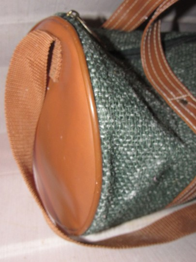 Oscar de la Renta Multi-purpose Mint Vintage Over-night From Studio Line Part Of 2 Piece Set green and white tweed fabric & brown leather with brown canvas straps Travel Bag Image 6