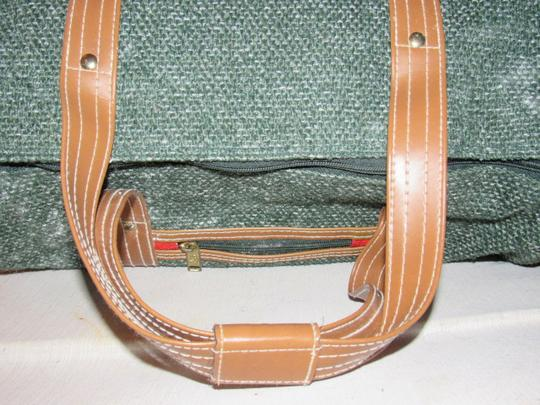 Oscar de la Renta Multi-purpose Mint Vintage Over-night From Studio Line Part Of 2 Piece Set green and white tweed fabric & brown leather with brown canvas straps Travel Bag Image 7