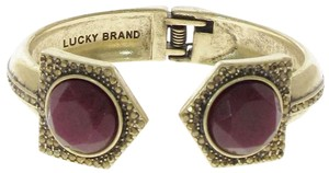 Lucky Brand Lucky Brand Red Jade Stone Pave Gold-Tone Hinged Cuff Bracelet