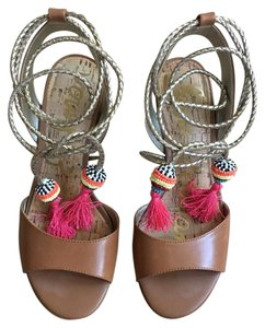 a7448690f40b Sam Edelman Braid Saddle Leather Tan with gold ties and colorful pom poms  Sandals