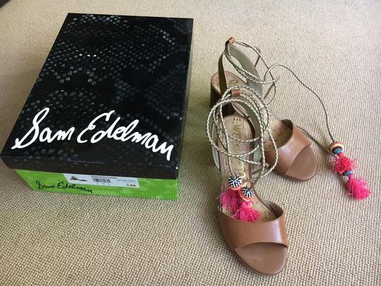 Sam Edelman Braid Saddle Leather Tan with gold ties and colorful pom poms Sandals