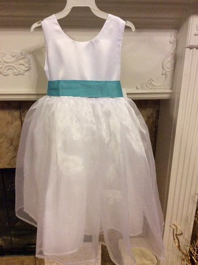 White and Turquoise Size 4 Flower Girl Dress