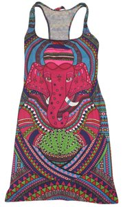 Mara Hoffman Racer-back Fitted Mini Date Rare Spandex Pink Purple Party Free People Stretchy Dress